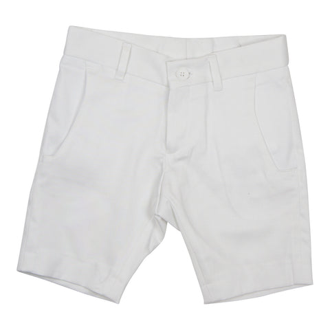 Euro Boys' Cotton Sateen White Slim Fit Bermuda - Young Timers Boutique  - 1