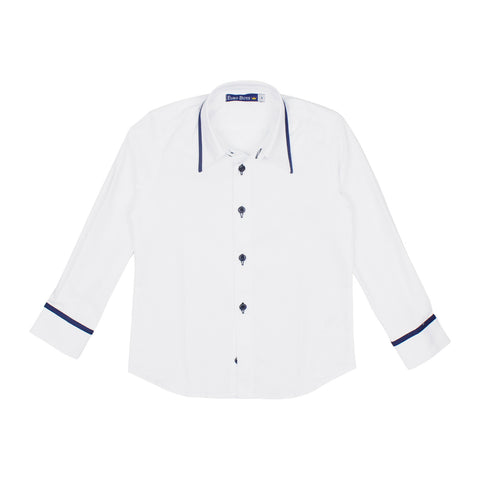 Euro Boys' Navy Trim Dress Shirt