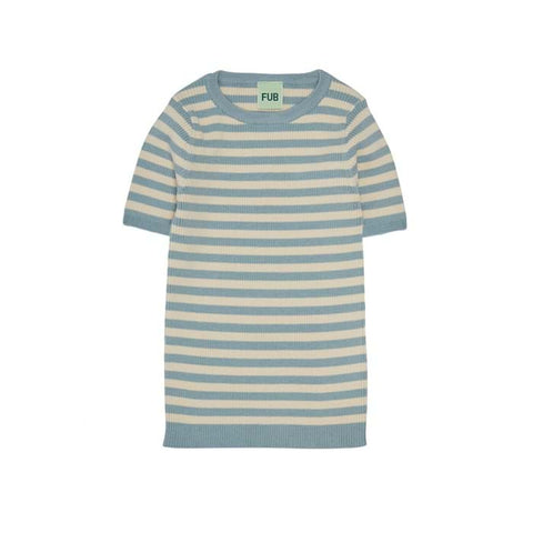 Fub Dusty Blue Striped Rib T-Shirt