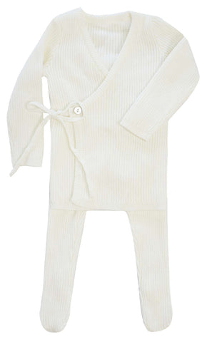 Kipp White Rib Knit Wrap Set