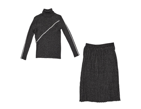 Gem Black Stitch Knit Set