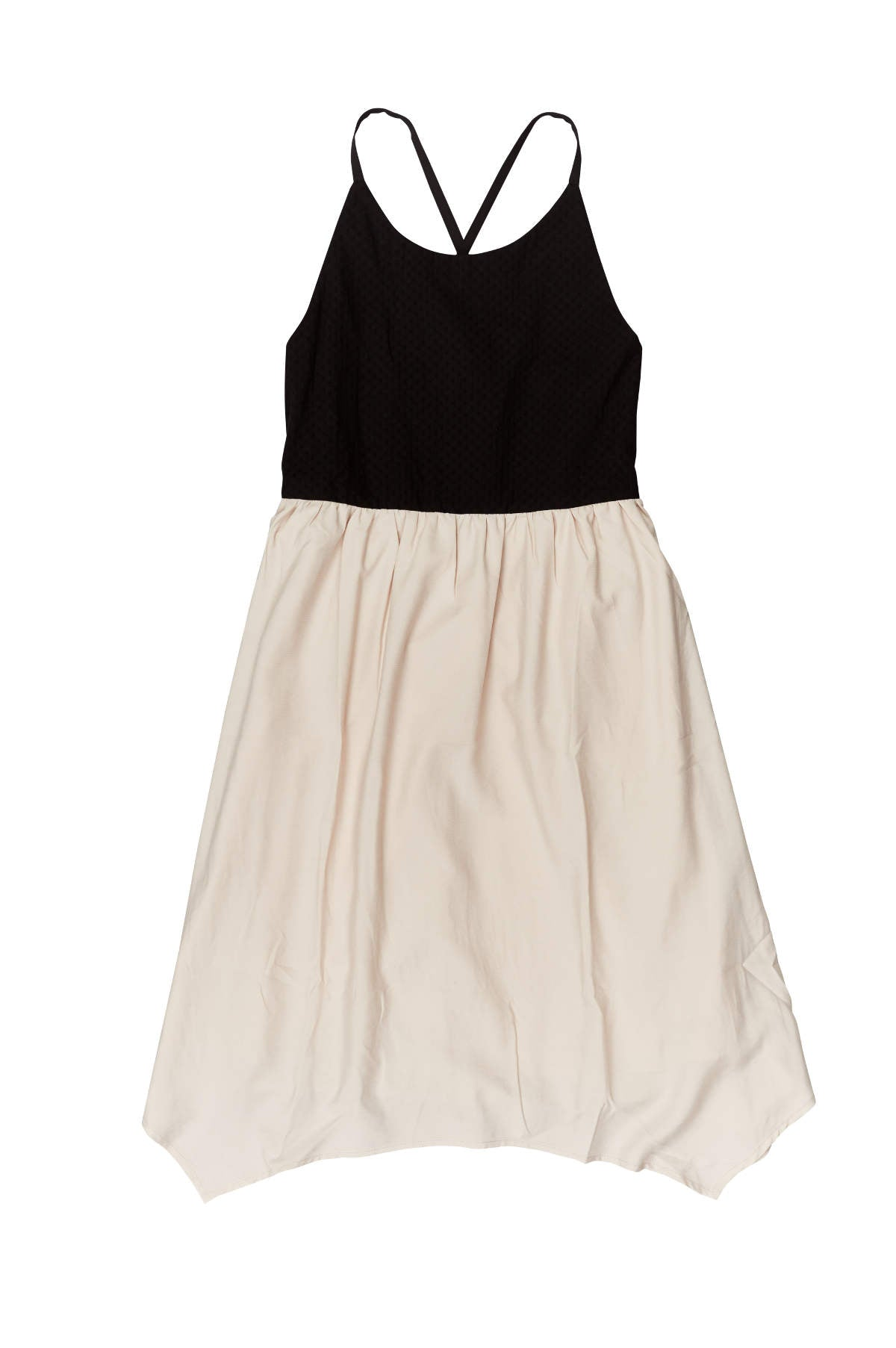 GEM Girls Handkie Sleeveless Beige & Black Dress