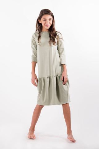 Go Couture Sage Drop Waist Dress