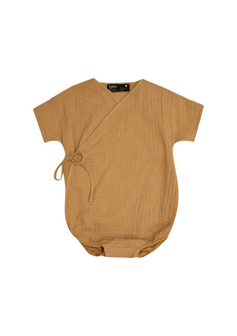 Hebe Light Brown Muslin Wrap Romper
