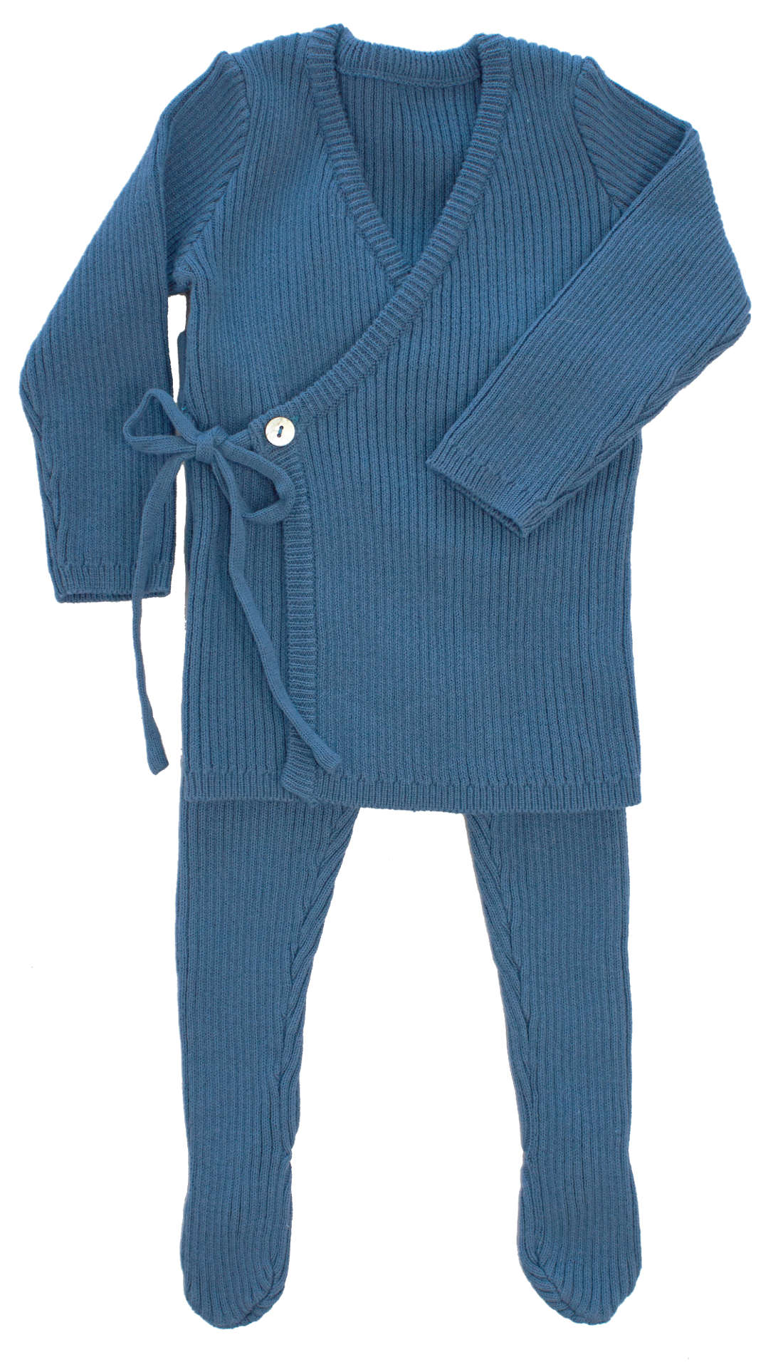 Kipp Blue Rib Knit Wrap Set