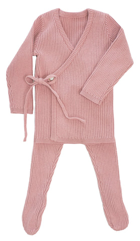 Kipp Blush Rib Knit Wrap Set