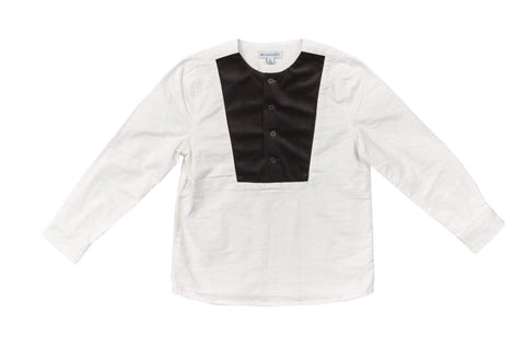 Blumint White Shirt With Black Corduroy Insert