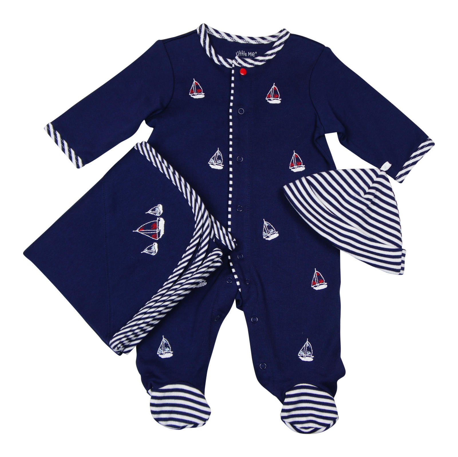 Little Me Baby-boys Sail Boat Footie Hat and Blanket Set - Young Timers Boutique