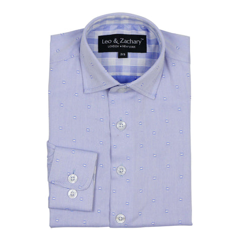 Leo & Zachary Boy's Blue Box Dress Shirt