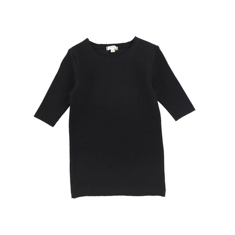 Lil Legs Black Three Quarter Sleeve Ribbed T-Shirt