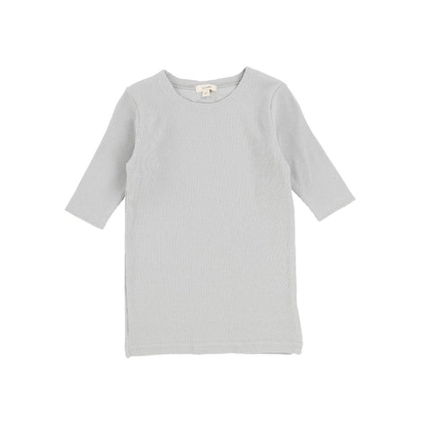 Lil Legs Light Grey Three Quarter Sleeve Ribbed T-Shirt