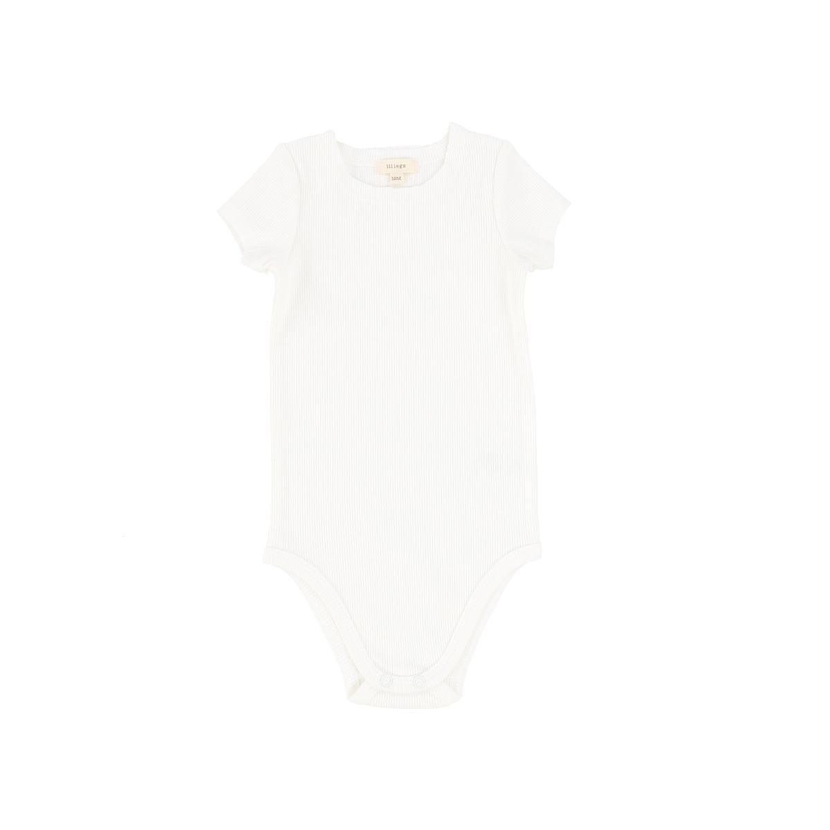 Lil Legs Pure White Short Sleeve Ribbed Onesie