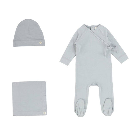 Lilette Dusty Blue Brushed Cotton Wrapover Take Me Home Set