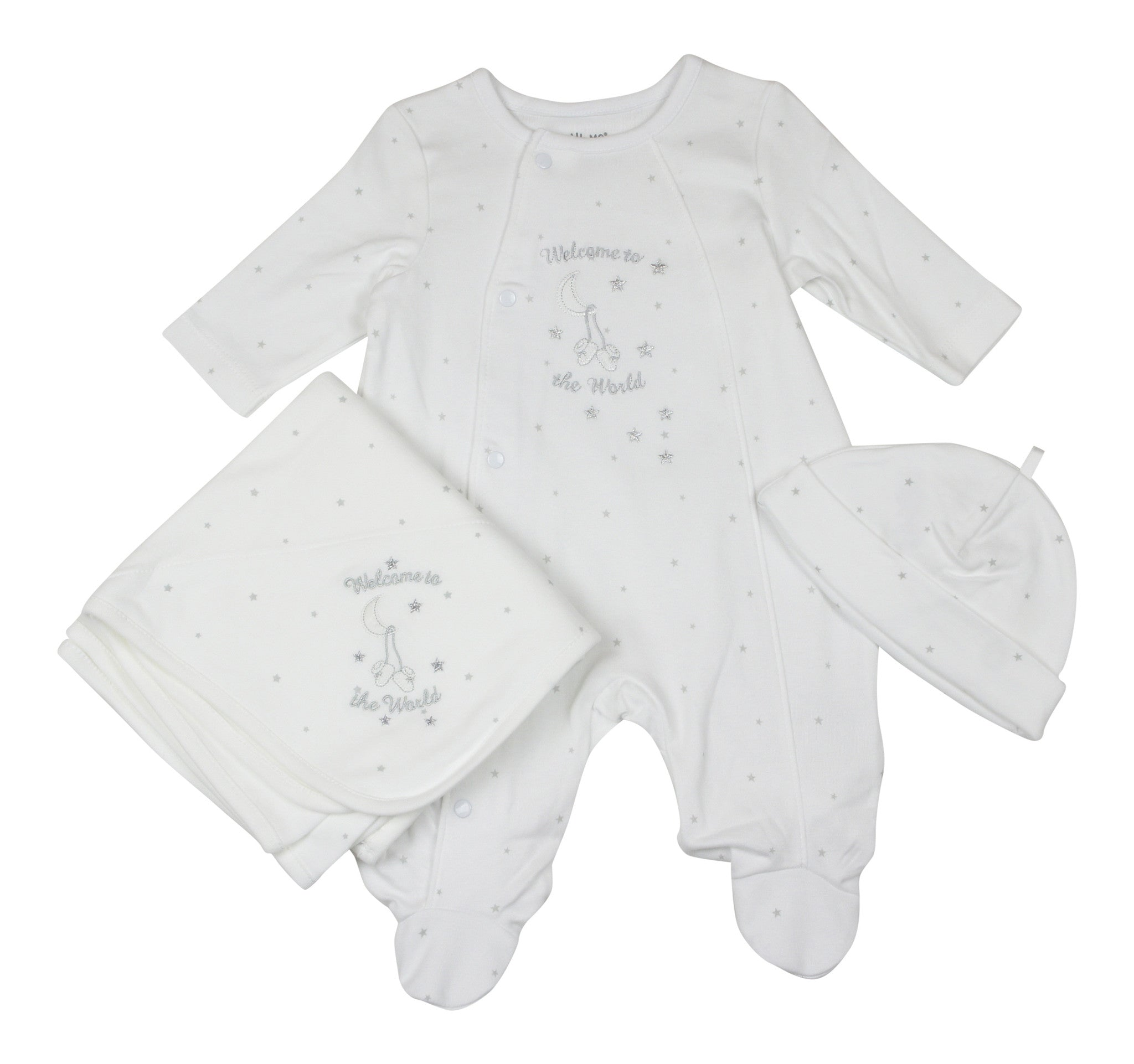 Little Me Unisex Baby Welcome To The World White Star Footie Set - Young Timers Boutique  - 1