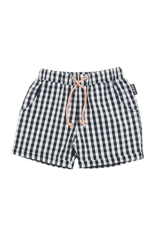 Loud Apparel Black Shepard Check Cheery Shorts