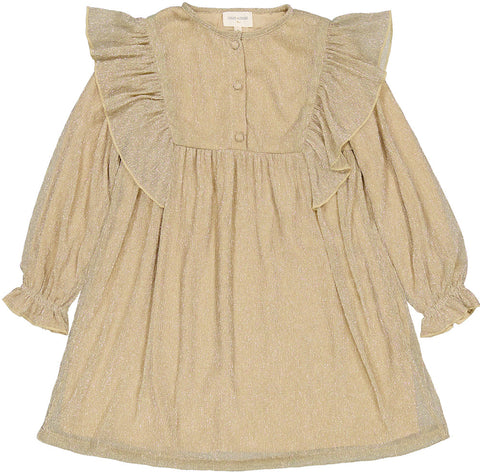 Louis Louise Gold Arield Pleated Dress