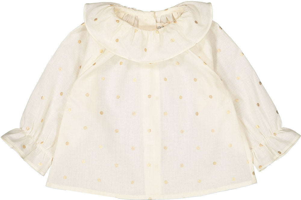 Louis Louise Ivory Gold Dot Lilie Baby Blouse