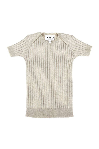 Mabli Sand Knitted Short Sleeve Caswell Top