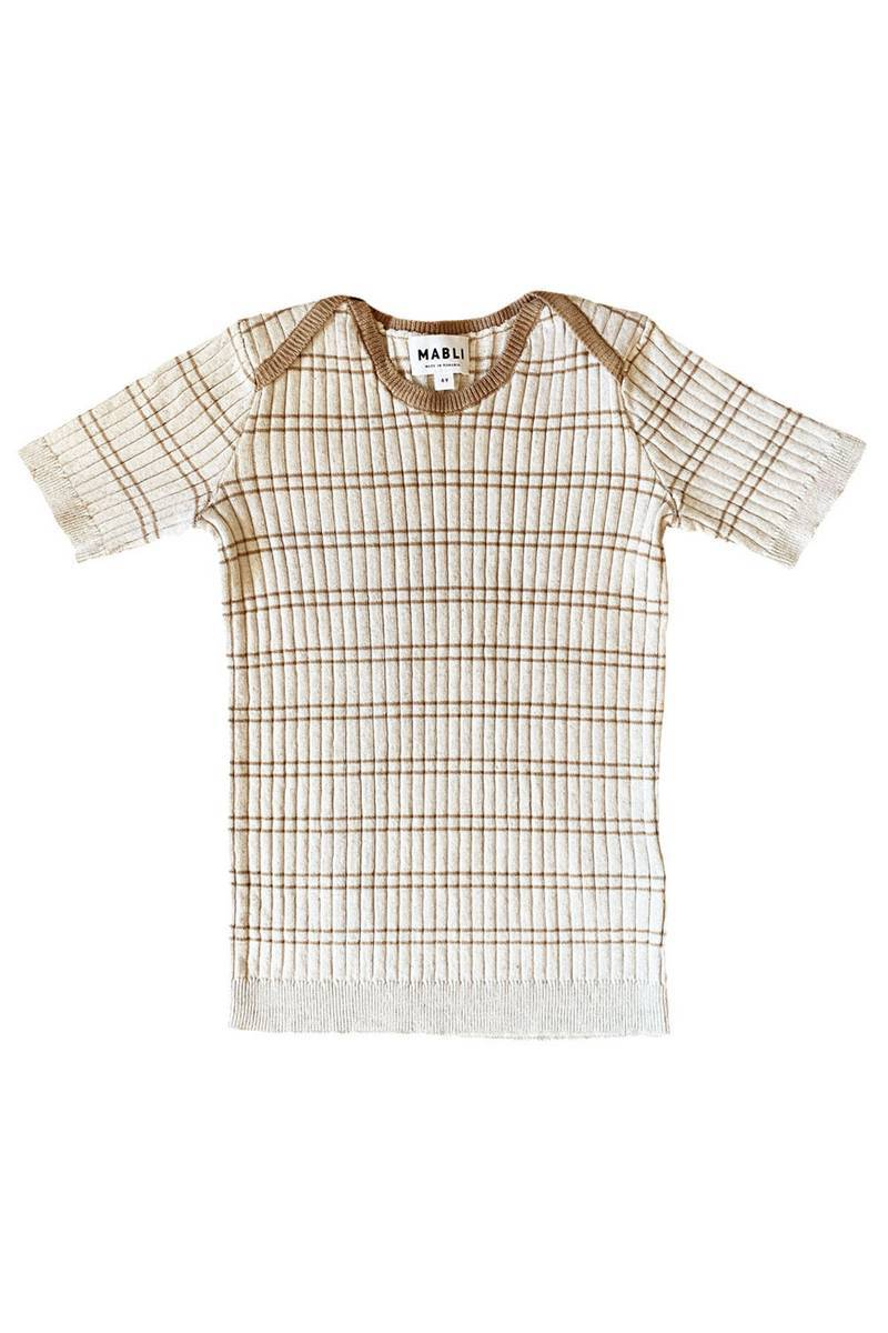 Mabli Sand/Willow Striped Knitted Short Sleeve Caswell Top