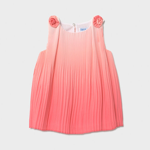 Mayoral Coral Pleated Dress