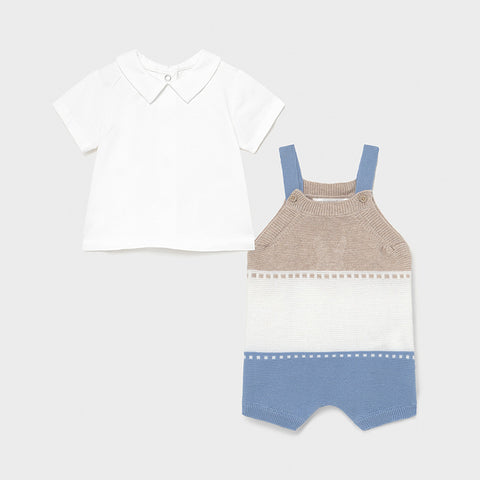 Mayoral Light Blue Knit Dungarees Set