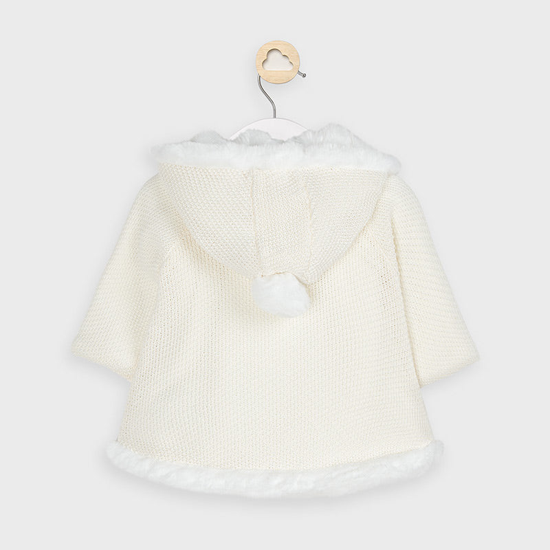 Mayoral Natural Pompom Knit Cardigan