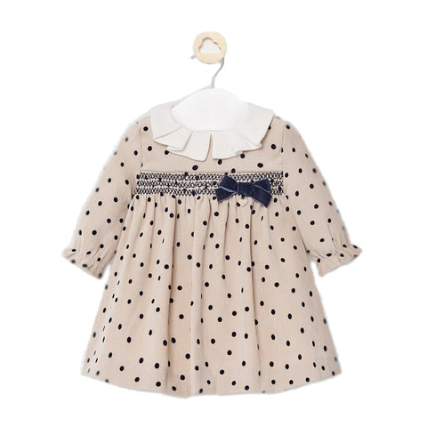 Mayoral Taupe Polka Dot Dress