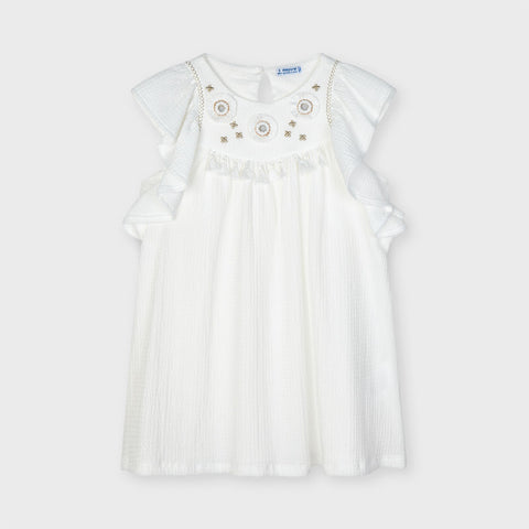 Mayoral White Applique Dress