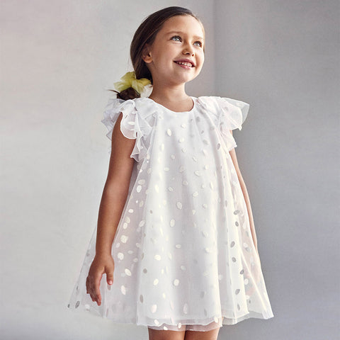 Mayoral White Glitter Dots Tulle Dress