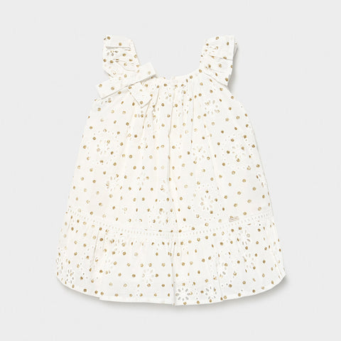 Mayoral White Perforated Dotted Dress