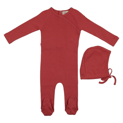 Mema Berry Pointelle Wrap Footie Set