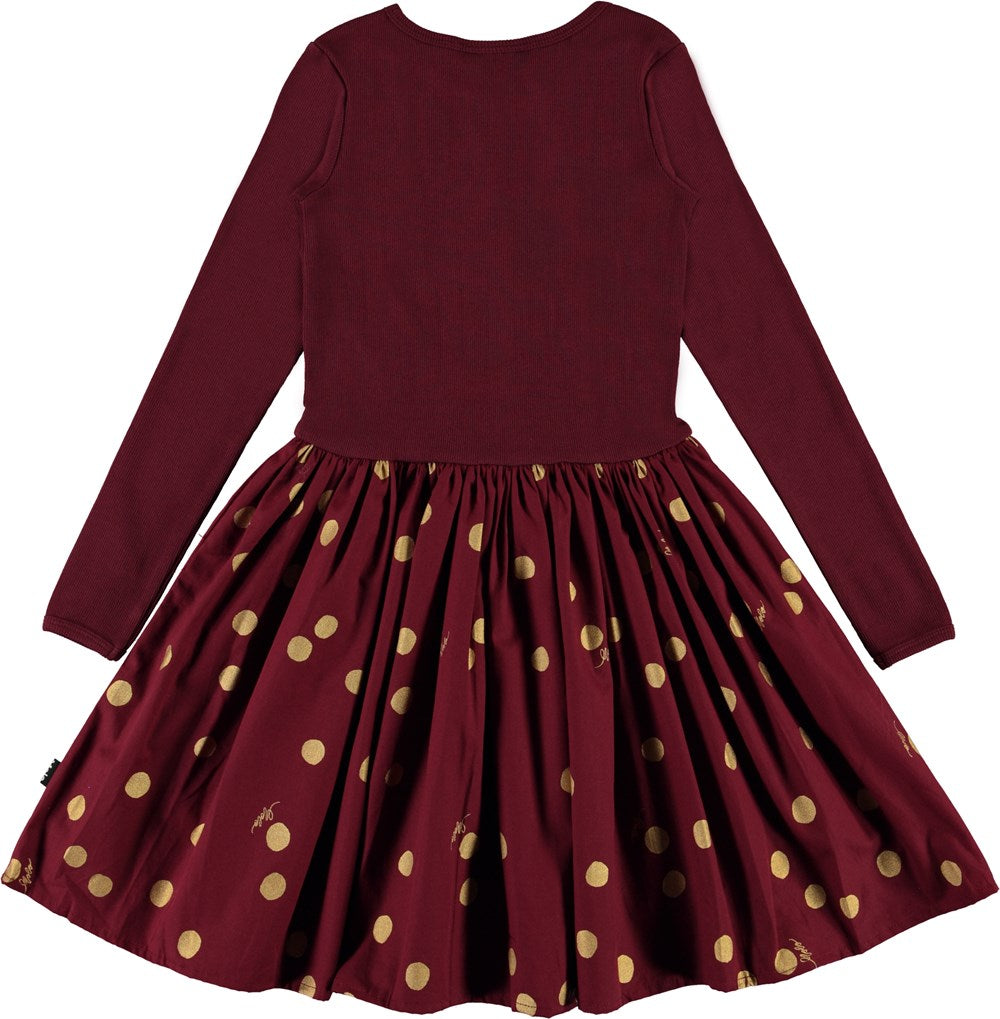 Molo Burgundy With Gold Dots Casie Dress
