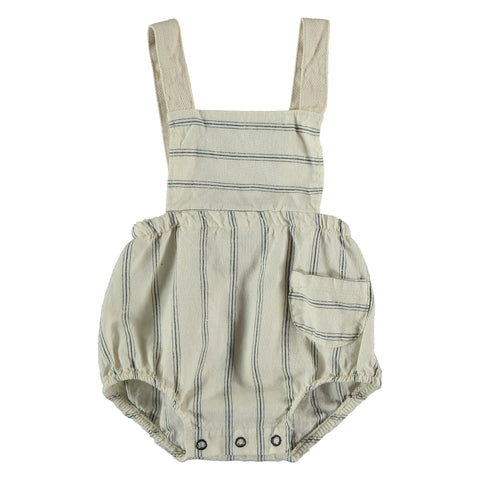 My Little Cozmo Ivory Striped Cole Romper