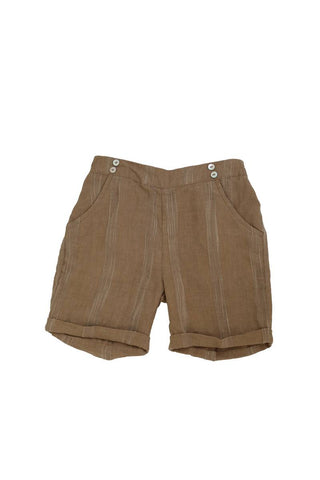 Noma Beige Striped SHORTY BERMUDAS WITH BUTTONS OVER POCKET DETAIL