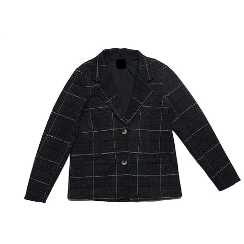 Belati Black Plaid Jersey Blazer