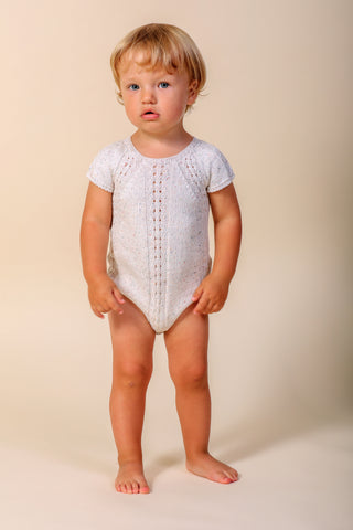 Nueces Ivory Speckled Openwork Knitted Romper
