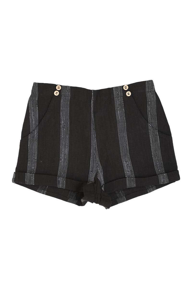 Noma Black Striped SHORTY BERMUDAS WITH BUTTONS OVER POCKET DETAIL