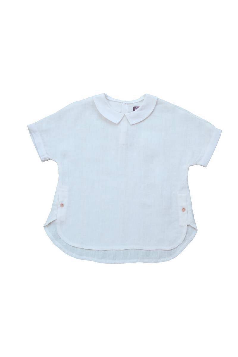 Noma Ivory SINGLE SIDE BUTTON COLLARED SHIRT