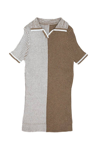 Noma Mocha Brown HALF AND HALF COLLARED KNIT