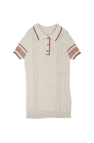 Noma Terracotta CONTRAST TRIM WIDE RIBBED KNIT WITH COLLAR