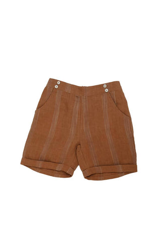 Noma Terracotta Striped SHORTY BERMUDAS WITH BUTTONS OVER POCKET DETAIL