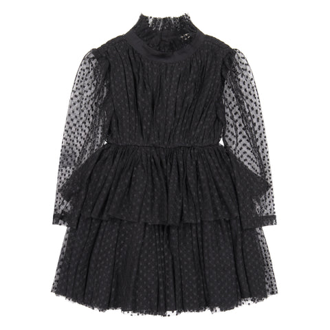 Nove  Black Dotted Tulle Dress