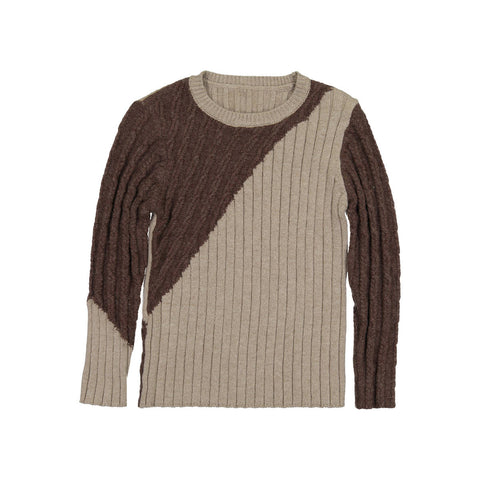 Nove Brown Diagonal Cable Sweater