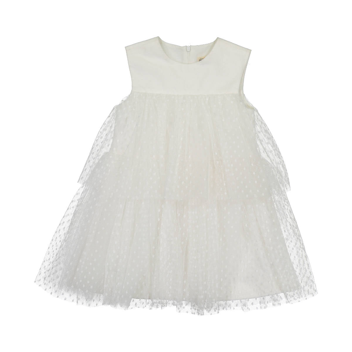 Nove Cream Dotted Tulle Dress