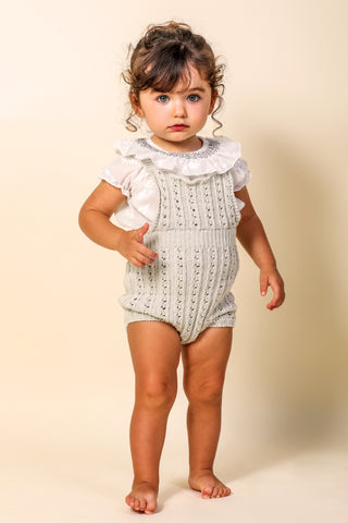 Nueces Beige Knit Romper