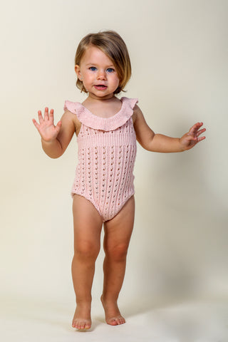 Nueces Dusty Pink Openwork Knitted Romper