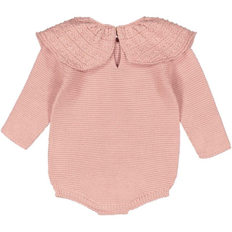 Nueces Dusty Pink Peter Pan Knit Romper