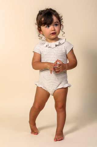Nueces Ivory Speckled Striped Knitted Romper