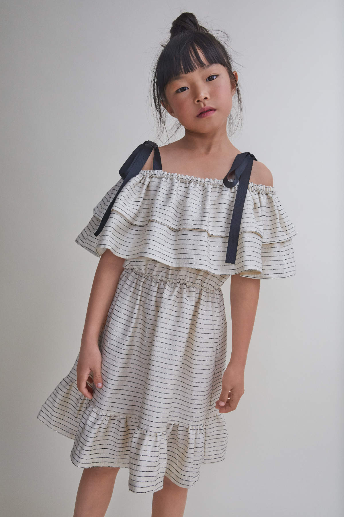 Nueces Girls' Ivory & Black Stripe Alheli Dress