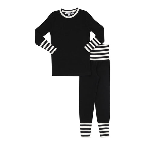Parni Black Striped Cuff Pj's